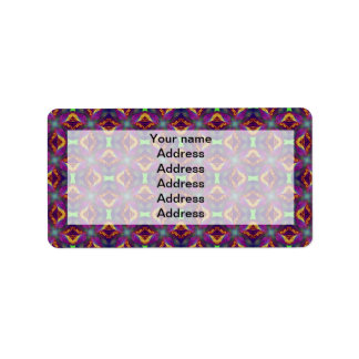 Purple Tulip Fractal Patterned Label