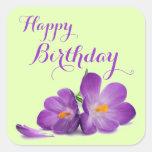 Purple Tulip Happy Birthday Stickers