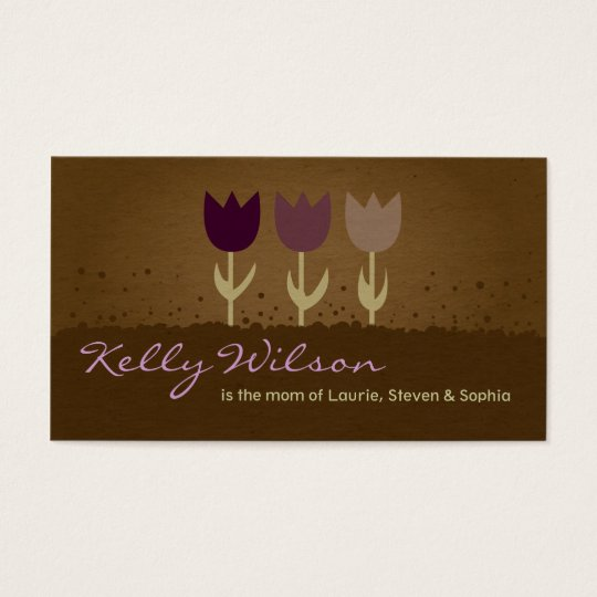 Purple Tulip Mommy Calling Business Cards