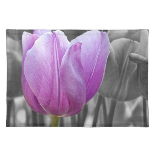 Purple Tulip on Black and White Cloth Placemat