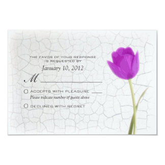 Purple Tulip on Crackle Paint RSVP Personalized 3.5x5 Paper Invitation Card