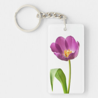 Purple Tulip on White Customized Template Keychain