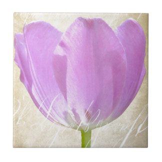 Purple Tulip Paper Vintage Pattern Ceramic Tile