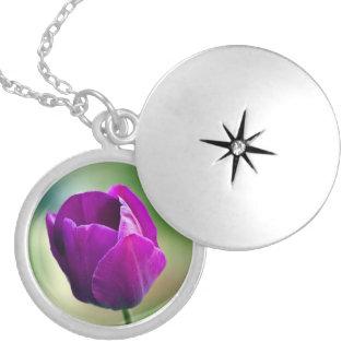 Purple Tulip Round Locket Necklace