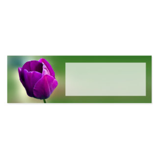 Purple Tulip Wedding Place Name Card Double-Sided Mini Business Cards (Pack Of 20)