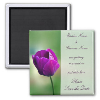 Purple Tulip Wedding Save The Date Magnet