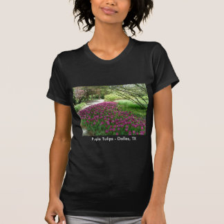 Purple Tulips (3033) Ladies Petite Black T-Shirt