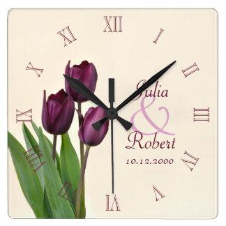 Purple tulips anniversary square wallclocks
