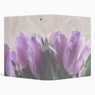 "Purple Tulips Aqua Dragonflies 1"" Avery Binder"