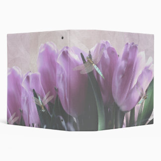 "Purple Tulips Aqua Dragonflies 2"" Avery Binder"