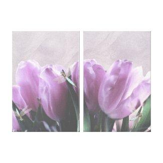 Purple Tulips Aqua Dragonflies Canvas Wall Decor