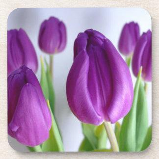 Purple Tulips Beverage Coaster