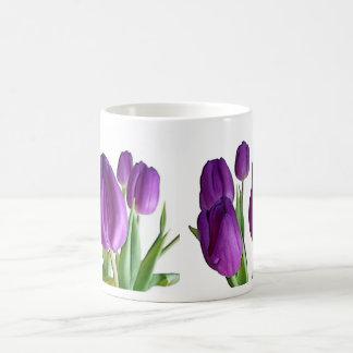 Purple tulips classic white coffee mug