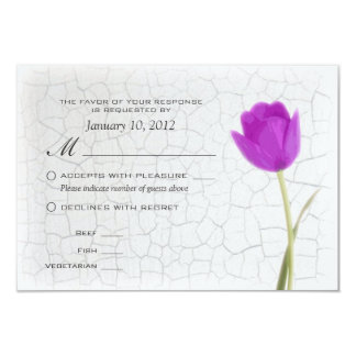 Purple Tulips Crackle Paint RSVP w/ Meal Options 3.5x5 Paper Invitation Card
