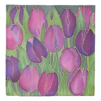 Purple Tulips Design Duvet Cover