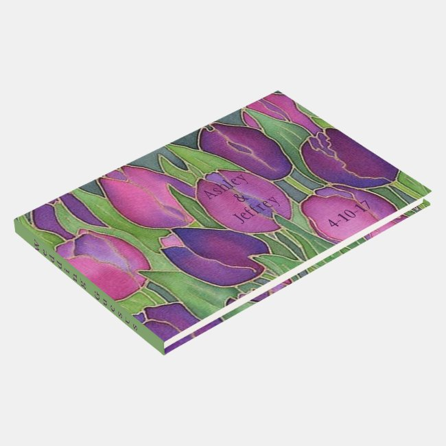 Purple Tulips Design Guest Book