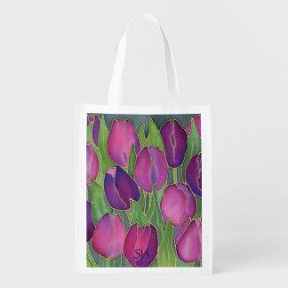 Purple Tulips Design Reusable Tote Market Tote