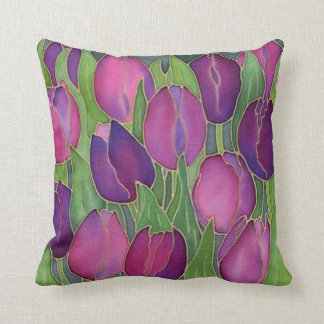 Purple Tulips Design Throw Pillow