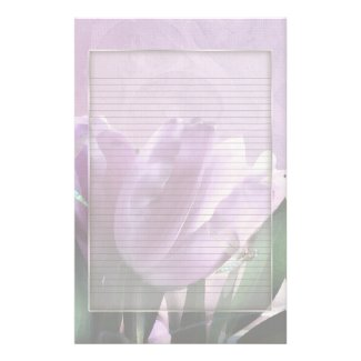 Purple Tulips Dragonfly Optional Lined Note Paper