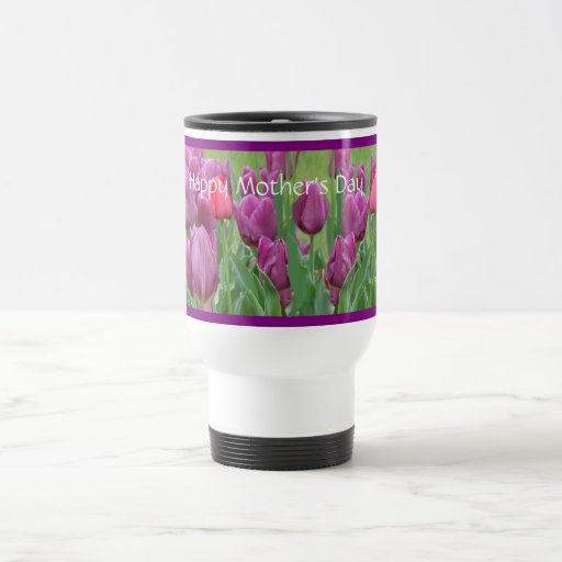 Purple Tulips Flower Art Mother's Day Travel Mug