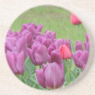 Purple Tulips Flowers Beautiful Blooms Drink Coaster