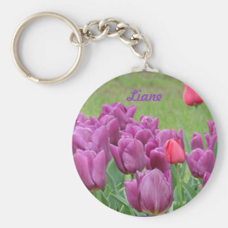 Purple Tulips Flowers Beautiful Blooms Keychains