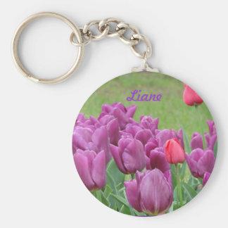 Purple Tulips Flowers Beautiful Blooms Keychain