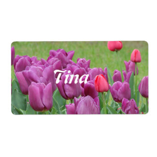Purple Tulips Flowers Beautiful Blooms Label