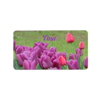 Purple Tulips Flowers Beautiful Blooms Address Label