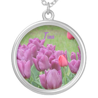 Purple Tulips Flowers Beautiful Blooms Personalized Necklace
