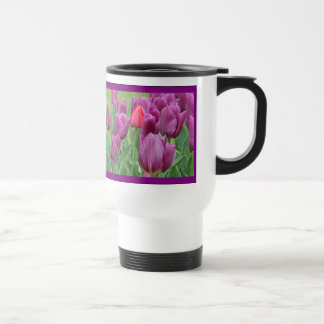 Purple Tulips Flowers Stainless Steel Travel Mug