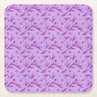 Purple Tulips For Awareness Square Paper Coaster