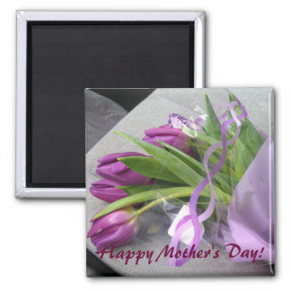 Purple Tulips For Mothers Day 2 Inch Square Magnet