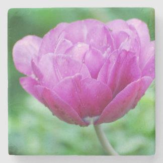 Purple Tulips Stone Beverage Coaster