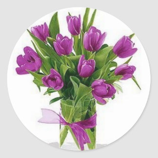 purple tulips in vase classic round sticker