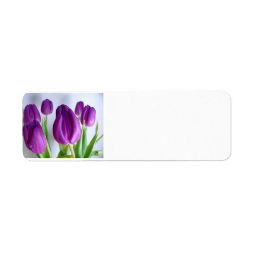 Purple Tulips Custom Return Address Labels