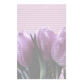 Purple Tulips Optional Lined Note Paper