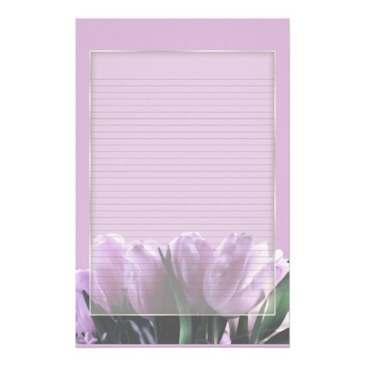 Purple Tulips Optional Lined Note Paper Stationery