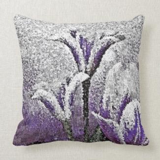 Purple Tulips - Painting Art Pillow