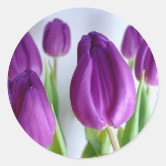 Purple Tulips Round Sticker