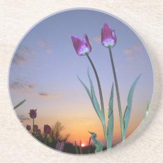 Purple_tulips Sandstone Coaster