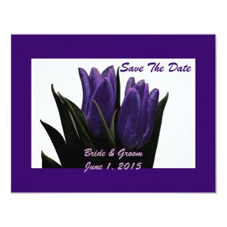 Purple Tulips Save The Date Card