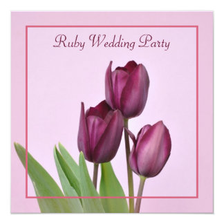 Purple tulips square Ruby anniversary party Card
