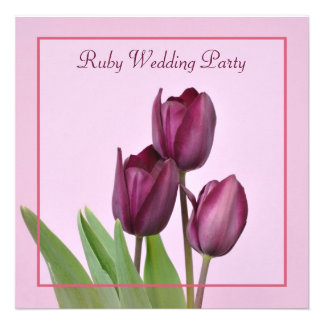 Purple tulips square Ruby anniversary party Personalized Invitation