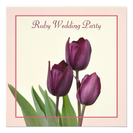 Purple tulips square Ruby anniversary party Custom Invitation