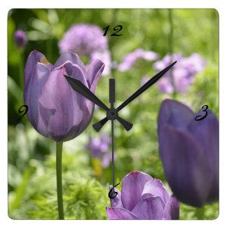 Purple Tulips Square Wallclock