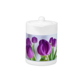 Purple Tulips Teapot