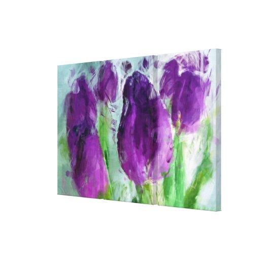 Purple Tulips Triptych Canvas Print