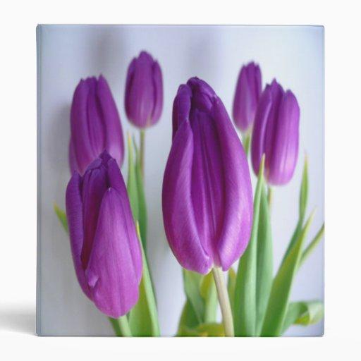 Purple Tulips Vinyl Binder