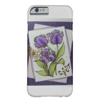 purple tulips w/ gold butterfly barely there iPhone 6 case